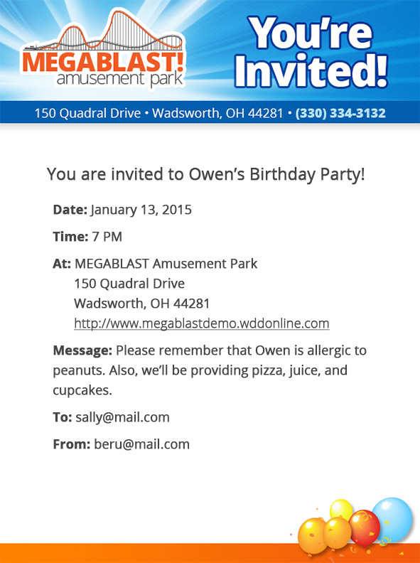 Birthday Invitations Module  Megablast Amusement Park  Amusement